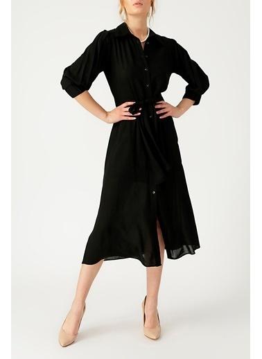 Random Kadın Belden Bağlamalı Siyah Gömlek Elbise Siyah